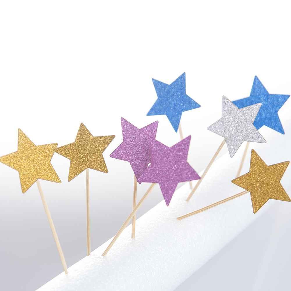 10 pièces/lot gâteau Topper paillettes or argent étoile gâteau décoration bébé douche enfants fête d'anniversaire fournitures de mariage choix de nourriture