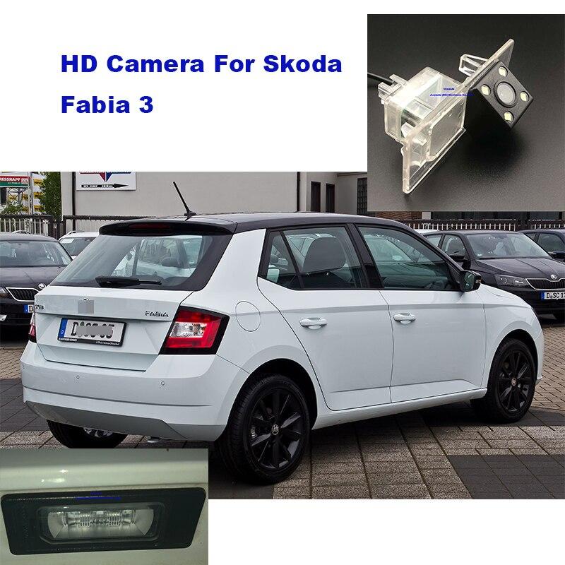 Otomobiller ve Motosikletler'ten Araç Kamerası'de Yessun plaka kamera Için Skoda Fabia 3 Araba Dikiz kamera Park Yardımı title=