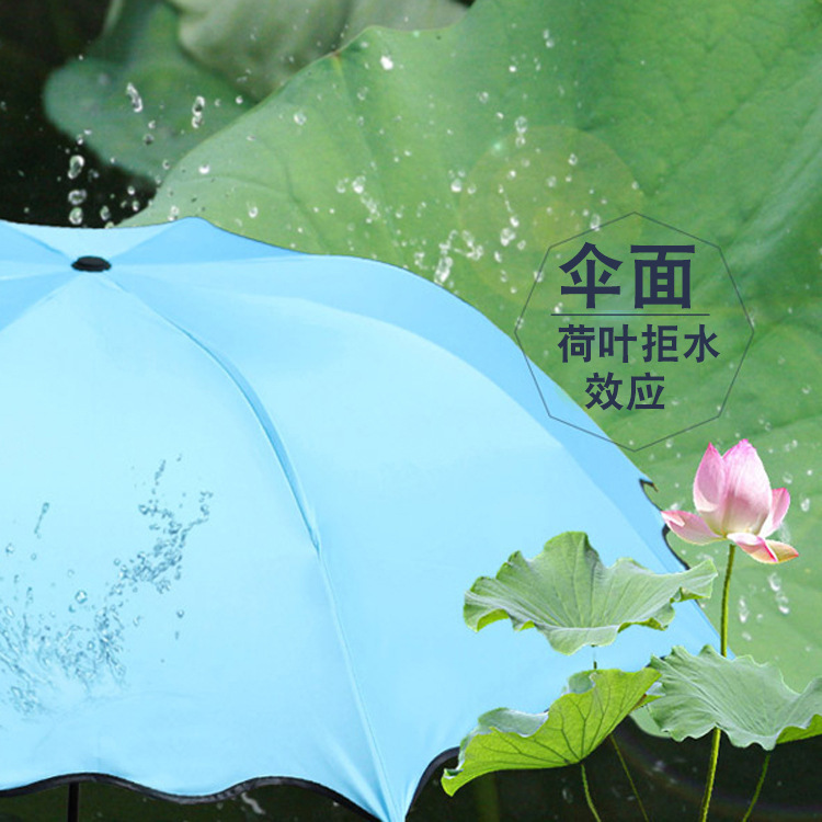 Water Open Umbrella Creative Advertising Umbrella Customizable Logo Color Changing Vinyl Umbrella Three Fold Folding Sun-resista