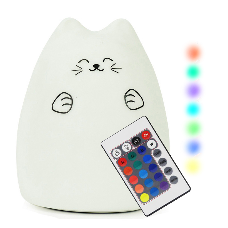 Dozzlor 7 Colors Cute USB Night Light Cat LED Nursery Lamp Soft Silicone Remote Control 3D LED Night Light For Children