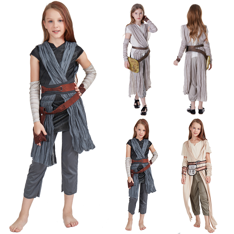 Kids Star Wars The Force Awakens Cosplay Carnival Party Costume Star Wars Rey Costume for Girls