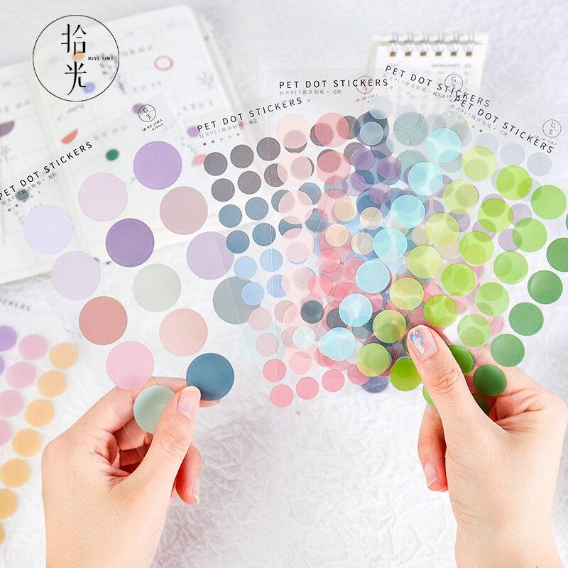 120 Pcs Color Mood Sticker Diary Decor Scrapbook Sticker Round Labels