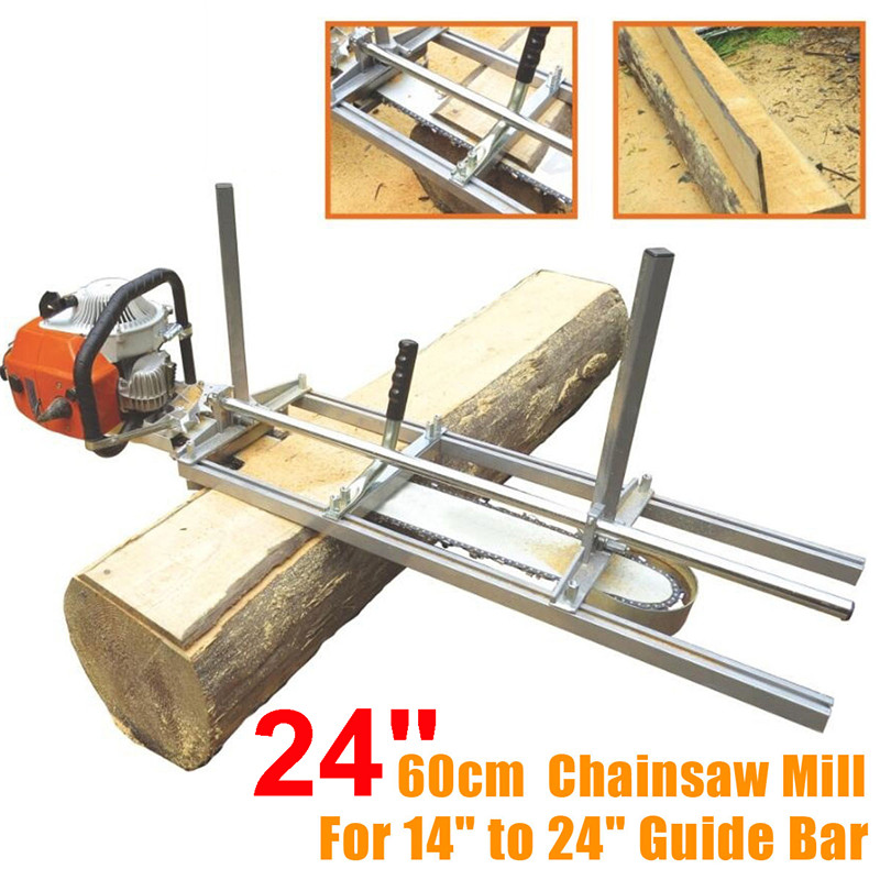 Doersupp 60cm Portable Chainsaw Mill Planking Milling From 14 Inch To 24 Inch Guide Bar Planking Lumber Cutting Tool + Glove