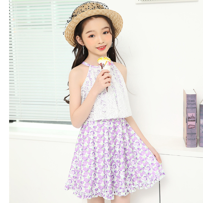 2018 New Style Children WOMEN'S Swimsuit Pastoral Style Of Korean-style Lace Dress Bathing Suit Conservative Bathing Suit