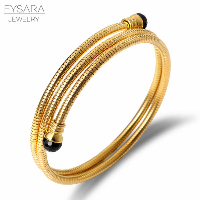 FYSARA Black Stone Crystals Bracelets Bangles for Women 361L Stainless Steel Cable Wire Snake Cuff Bracelets Gold Charms Jewelry