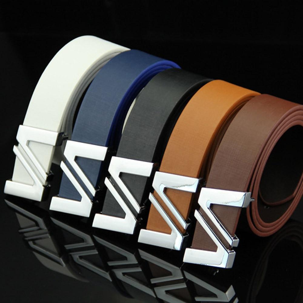 Fashion Mens Leather Belts Metal Smooth Girdle Buckle Waistband Waistband Leisure Belt Strap Ceinture#3