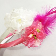1 Pcs/lot Girls Cute Head Hoop Lace Grosgrain Ribbon Flower Hairbands With Feather Children Hair Boutique Accessories