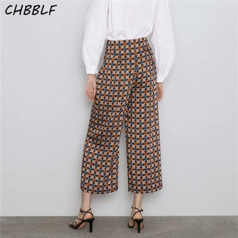 CHBBLF women retro print   wide     leg     pants   pockets female vintage casual trousers pantalones HJH2268