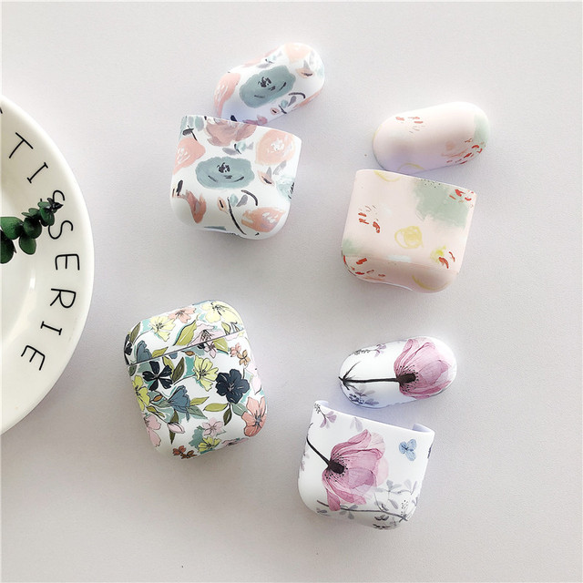 Art Oil Painting Case For Airpods Cover Luxury Luminous Flower Bluetooth Earphone Soft Case  Headphone Case Box For Apple Airpod