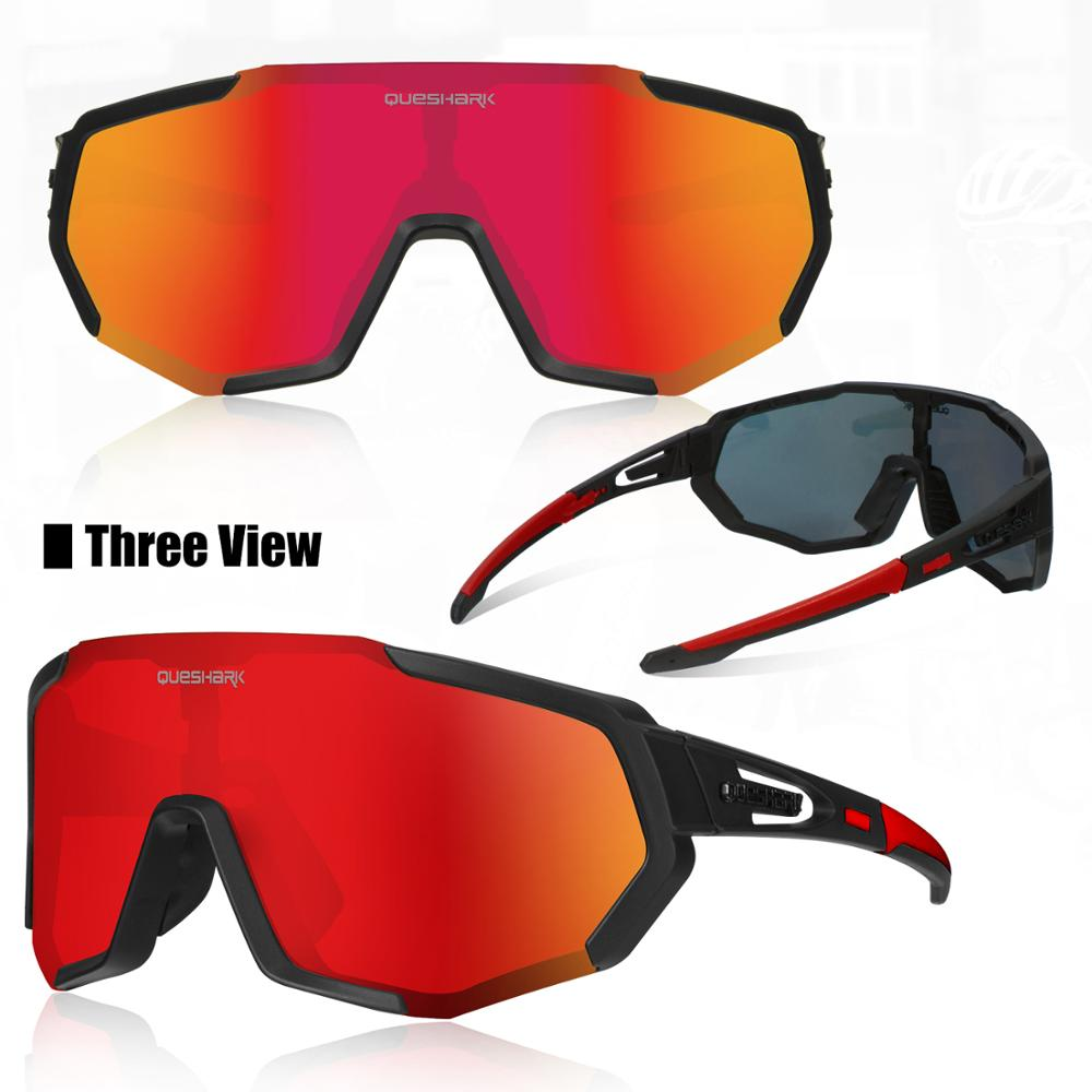 QUESHARK Polarized Cycling Glasses For Man Women Bike Eyewear Cycling Sunglasses 4 Lens UV400 Sport Glasses QE48 3
