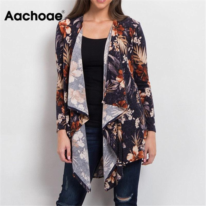 2020 Cardigan Women Sweater Casual Long Sleeve Autumn Cardigan Vintage Floral Printed Cardigan Elegant Irregular Tops Pull Femme