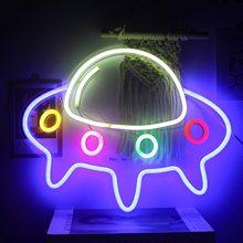 Neon Sign Light Big UFO Spaceship Shape Neon Signs Lights Wall Art  LED Night Lamp Christmas Gift Neon Signs For Room Wall Decor