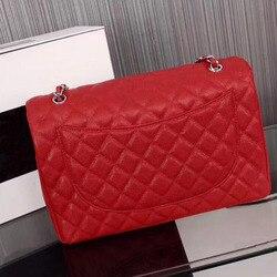 Senhoras de luxo bolsa 2019 alta qualidade couro caviar bolsas famoso designer corrente ouro prata feminino pacote diagonal