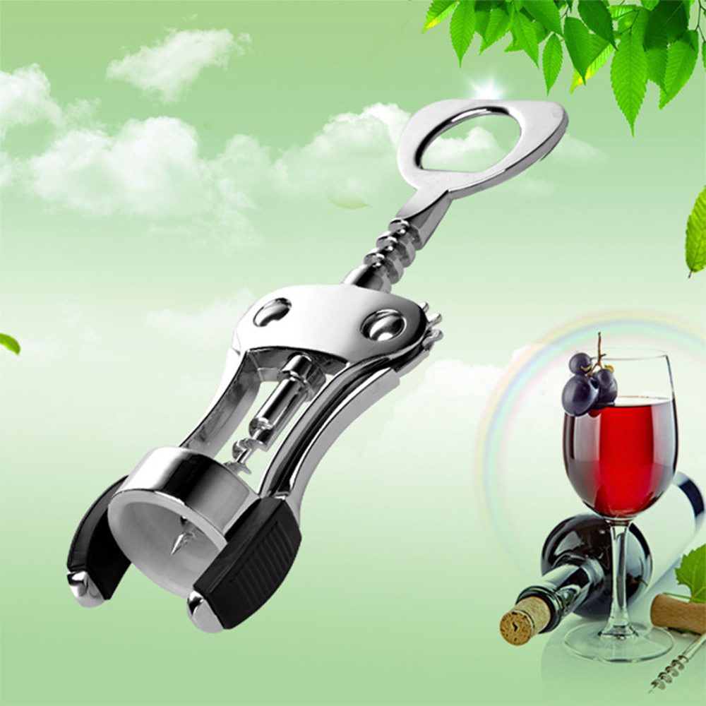 1pcs Portable Stainless Steel Wine Opener Wing Type Waiter Metal Wine Corkscrew Bottle Handle Openers Corkscrews Cork Out Tool