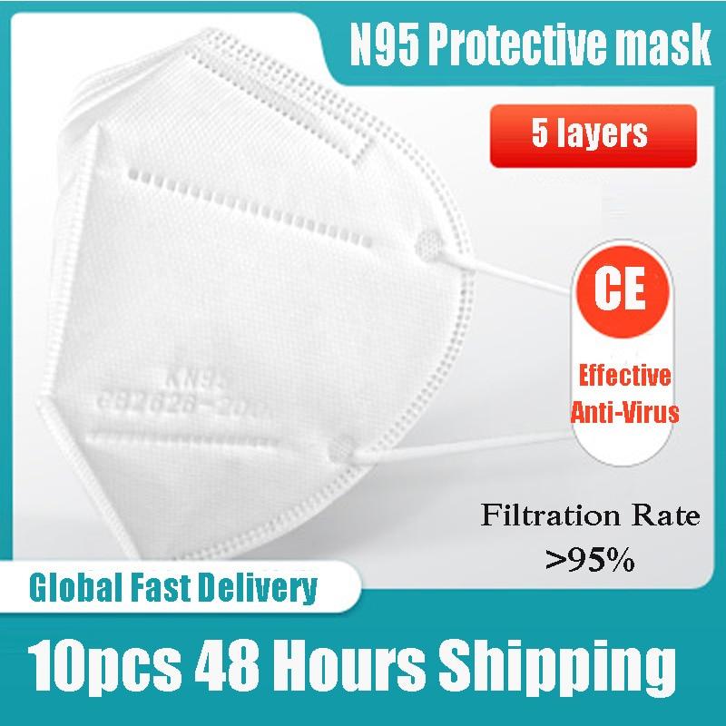 10pcs KN95 Dustproof Anti-fog And Breathable Mondkapjes Virus 95% Filtration Mascarilla Virus Mascarilla Antivirus Protection