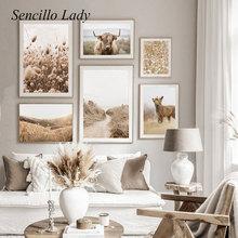Scandinavian Decoration Poster Picture Sunset Print Nordic-Style Canvas-Painting Landscape