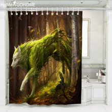 Anime Wolf Shower Curtain Dark Green Bathroom Curtains Waterproof Fabric Douchegordijn Bape Pascoa Bath Curtain cortinas de bano(China)