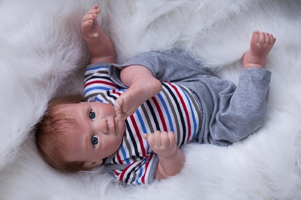 """22"""" Reborn Baby Dolls Real Life Silicone Vinyl Realistic Boy Blue Eyes Newborns"""