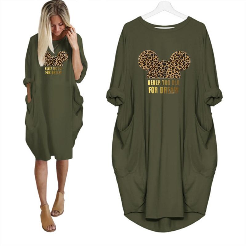 2020 Dress Women Cute Printing Pocket Loose Dresses Vintage Fall Maxi Clothes Party Casual Dresses Woman Plus Size Leopard Dress 8