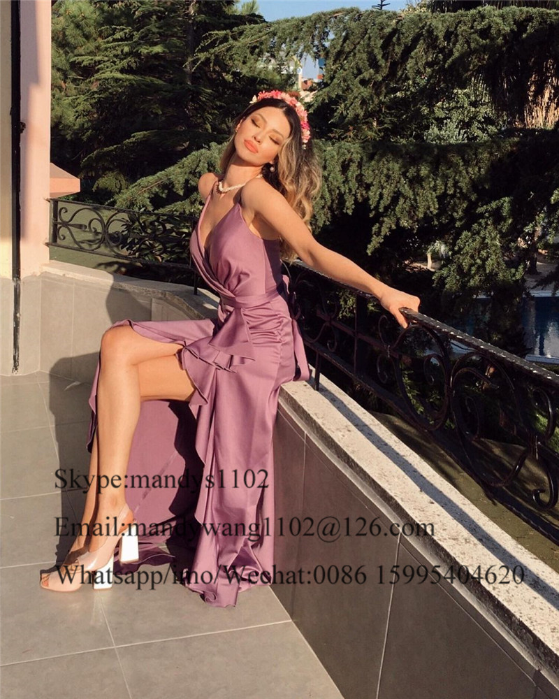 2021 A-Line Cross Backless Prom Dresses Long Sexy V-neck Split Evening Party Gowns For Women Cheap Sale Vestidos de graduación