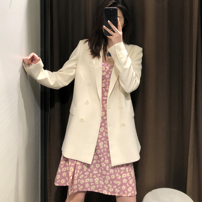 2020 Spring Autumn White Blazer Women Chic Button Double Breasted Solid Suit Jacket Coat Female Tops Office Lady Blazer Mujer