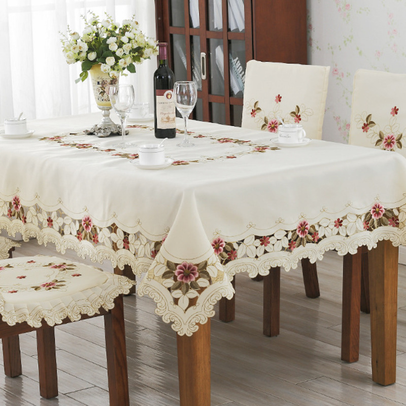 Countryside Beige Embroidered Tablecloth 100 Polyester Prin Rectangle Table Cover 1PC Waterproof Oilproof Floral Table Cloth in Tablecloths from Home Garden