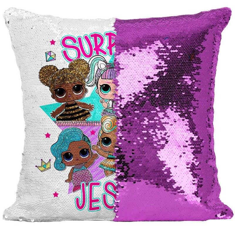 LOL Surprise Dolls Cute Confetti Sequins Pillowcase Lol Doll Cartoon Anime Indoor Sofa Sequins Pillow Cushion Cover
