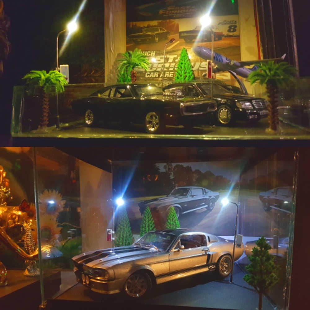 Stalen Buis Lichten Zand Tafel Maken Miniatuur Landschap Speelgoed 1:100 Model Railway Trein Lamp Post 3V Schaal Leds Tuin Koel Wit