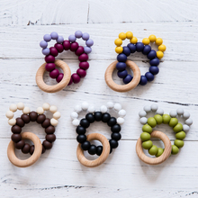1Pc Baby Teethers Wooden Rattles for 0-12 months Food GradeSilicone Teething N