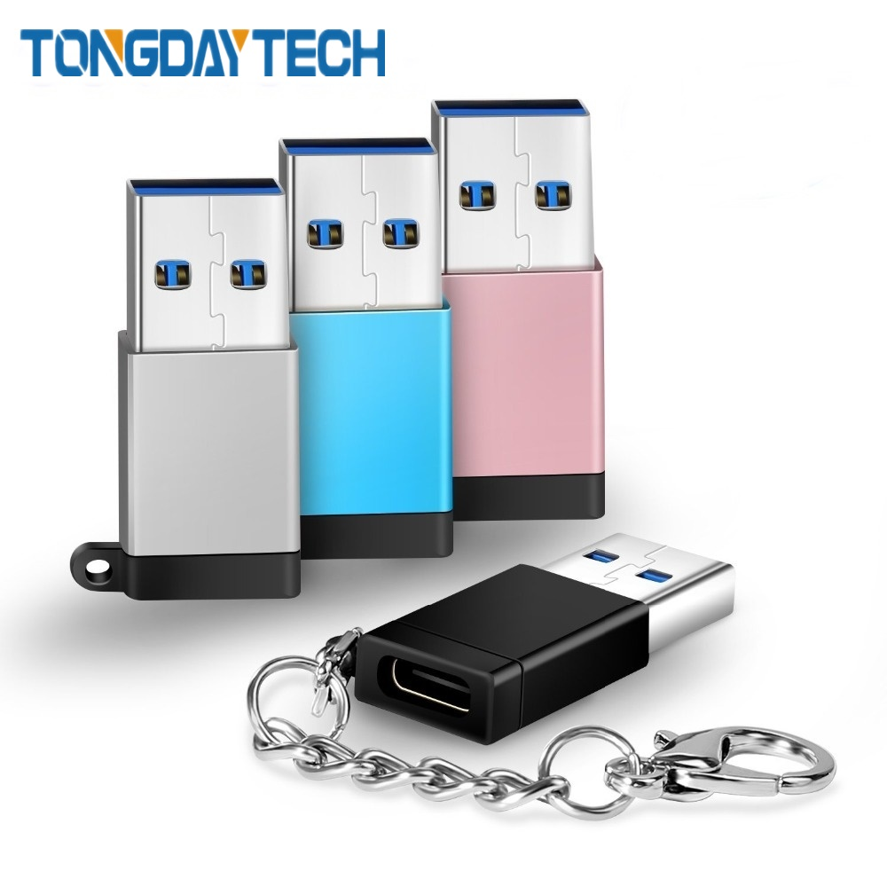 Tongdaytech Type C OTG Adapter Type C Female To USB 3.0 Male Data Sync Converter For USB C Cable Macbook PC Flash Drive Laptop