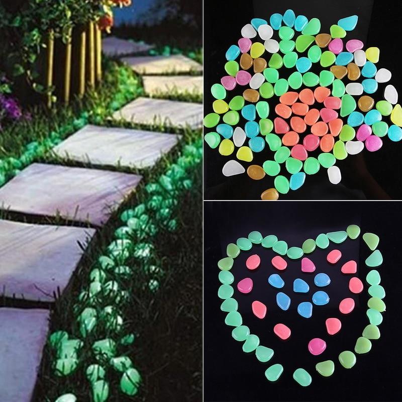 50шт сад светящийся светящийся камень галька светящийся в темноте сад свет камни камни для дорожек сад дорожка патио лужайка декор