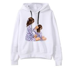 New Womens Mother Mouse Print Hoodie Fashion Twin Baby Hooded Shirt
