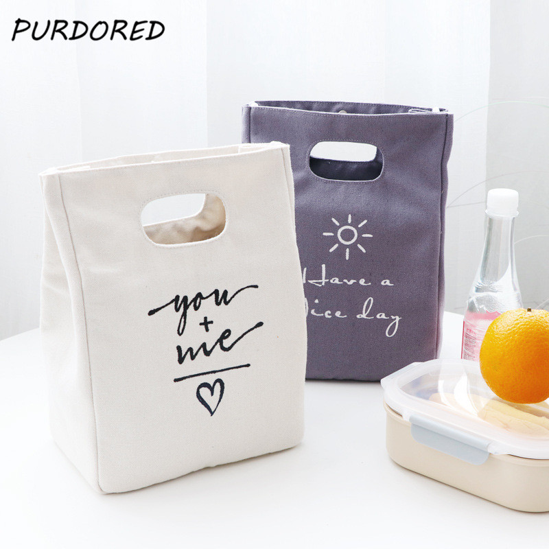 PURDORED 1 Pc Simple Style Lunch Bag Canvas Thermal Lunch Box Bag Food Fresh Bento Pouch Picnic Drink Cold Insulation Organizer
