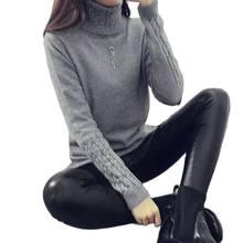 2021 ciepły, jesienny, zimowy sweter i swetry damskie moda sweter z golfem kobiety zakręcony, ciepły sweter typu slim fit sweter