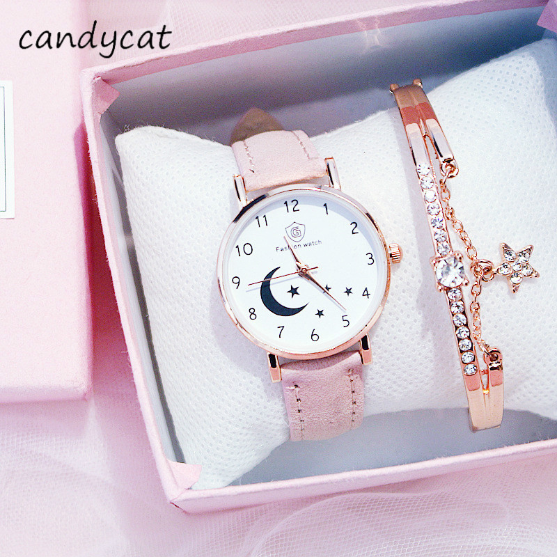 CandyCat Girls Watch Ins Wind Sen Xi College Harajuku Wind Student Starry Moon Watches Couple Watch Bracelet