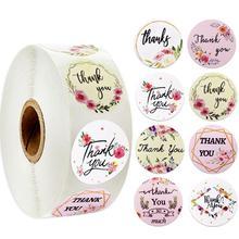Floral design thanks sticker 500 pcs  wedding party bouquet decoration scrapbook art supplies stationery