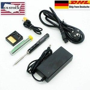 Image 1 - TS100ミニデジタル電気はんだごて液晶プログラマブル表示調整可能な温度はんだ先端と電源