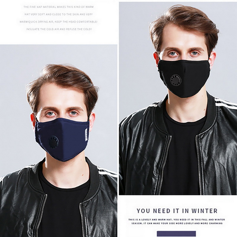 Anti Pollution Mouth Mask With 2 Replaceable Filters PM2.5 AntiDust Breathable Cotton Face Mask Washable Respirator Mouth-muffle