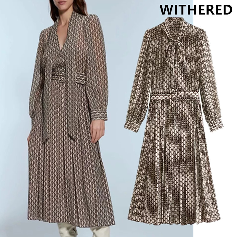 Withered England Style Vintage Paper Clip Printing Sashes Party Midi Dress Women Vestidos De Fiesta De Noche Vestidos Blazer Top