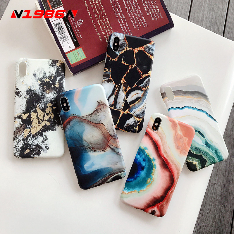 N1986N Phone Case For iPhone 11 Pro X XR XS Max 6 6s 7 8 Plus Retro Abstract Art Marble Texture Colorful Soft IMD For iPhone 11