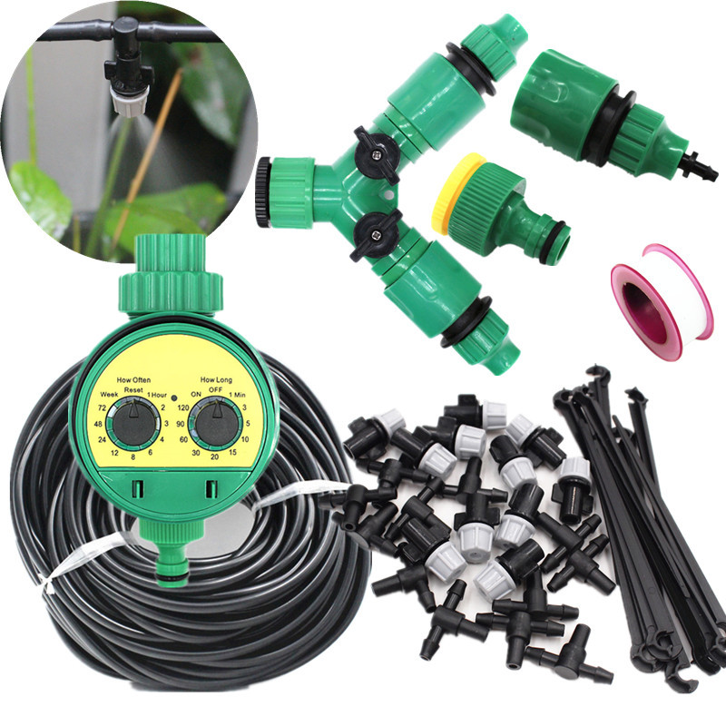 5-40m Misting Sprinkler With Splitter Water Timer 2-Ways SpGarden Watering Drip Irrigation Plant Automatic Dripper Watering Kits