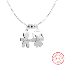 925 Sterling Sliver Name Necklaces Personalized 2 Names Fashion Anniversary Pendant Engrave Jewelry Cute Simple Gift for Couples