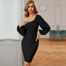 Женское платье с косым плечом черное Бандажное длинным рукавом