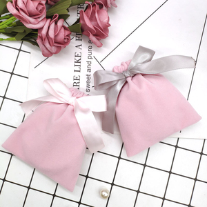 Image 3 - 50Pcs 7cmx9cm Jewelry Velvet Bags With Ribbon Flannel Pouches Wedding Candy Gift Packing Christmas Decoration Can Custom Logo