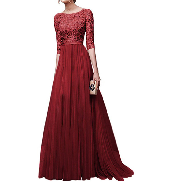 Fashion Maxi Dress Plus Size Women Pleated Solid Embroidery O-Neck Autumn Elegant O-neck Clothes New Gothic