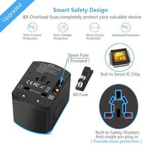 Image 2 - Evrensel güç seyahat adaptörü dünya çapında uluslararası güç adaptörü akıllı 2.4A 4 USB şarj aleti avrupa İngiltere abd dönüştürücü fiş