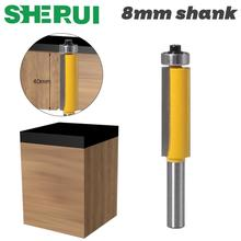 1pc 8mm Shank Trim Router Bit with Bearing for Wood Template Pattern Bit Tungsten Carbide Milling Cutter for Wood