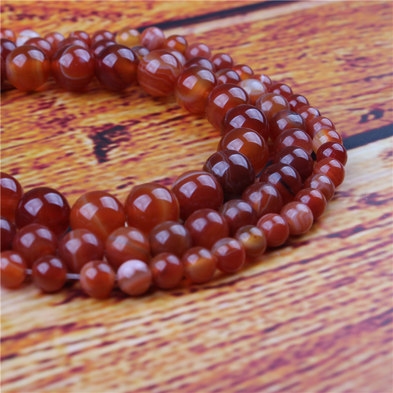 Red Striped Agate Natural Stone Bead Round Loose Spaced Beads 15 Inch Strand 4/6/8/10/12mm For Jewelry Making DIY Bracelet