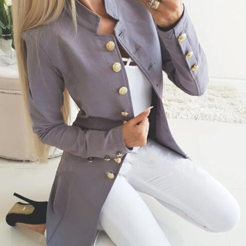 Suit Blazer Outerwear Pocket Long-Sleeve Elegant Autumn Single-Breasted Casual Winter title=