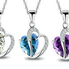 90 шт./лот, ожерелье с кулоном для девушек, для женщин, для помолвки, модные аксессуары для девочек, кристалл, романтическая форма сердца